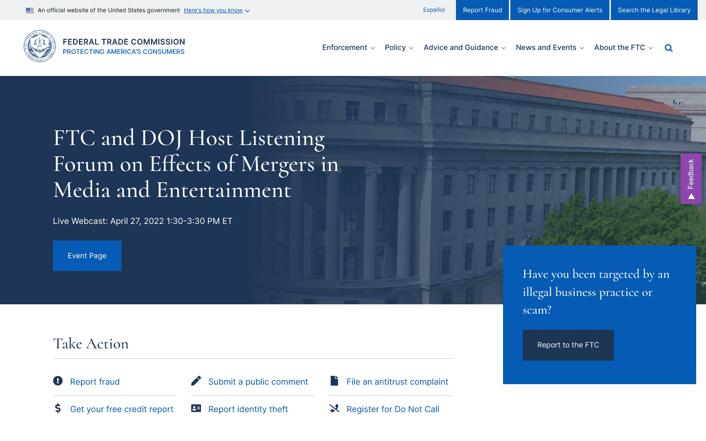 Federal Trade Commission reviews and complaints