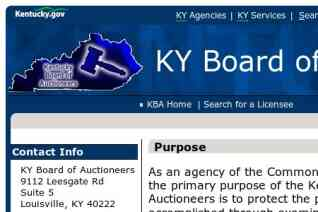 Kentucky Board of Auctioneers reviews and complaints