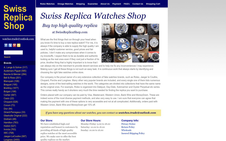 SwissReplicaShop Com reviews and complaints