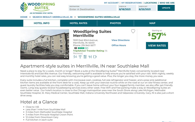 WoodSpring Suites Merrillville reviews and complaints