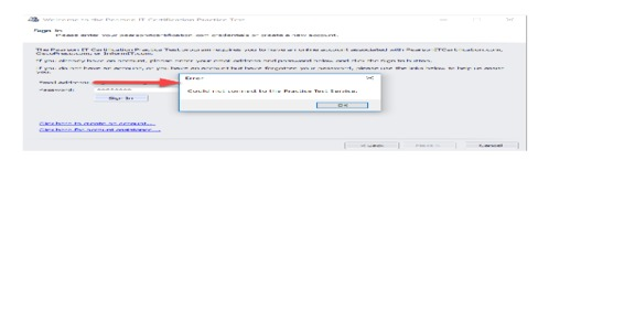 Pearson Education - PearsonITCert - unable to connect to Practice Test Service