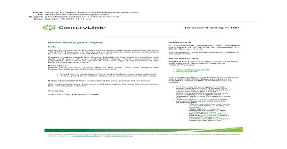 Centurylink - Scheduled repair of phone line