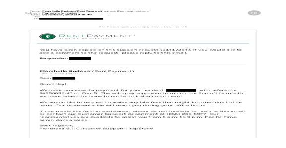 Rentpayment - Paid my landlord late, caused late payment penalty