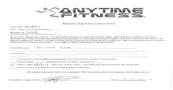 Anytime fitness - On month to month, but still won't let me cancel without $50 charge