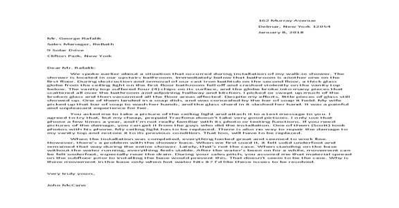 ReBath - Property Damage/Personal Injury; Materials Problem; No Customer Service