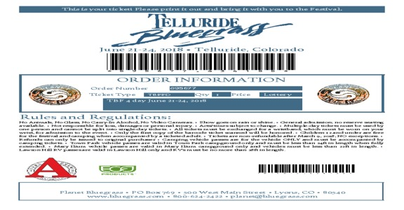 Vivid Seats - Sold Bad Tickets (2 sets of 4 day passes) Telluride Bluegrass Festival 2018