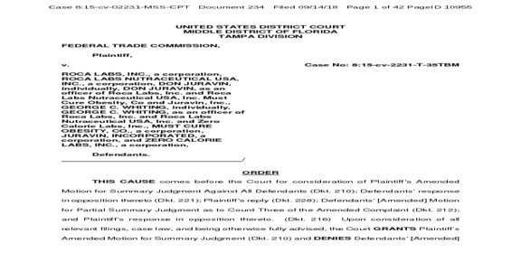 Roca Labs - FTC Defeats Don Karl Juravin