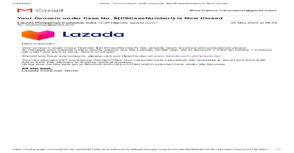 Lazada Philippines - My private email used for unknown Lazada order transaction