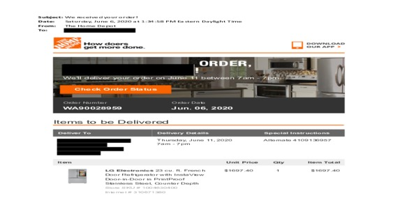 Home Depot - *** product delivery service