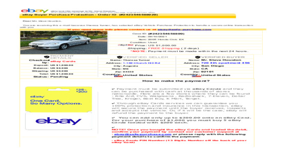 Ebay - Order a car and free shipping now ther charging for shipping they call it insurance.