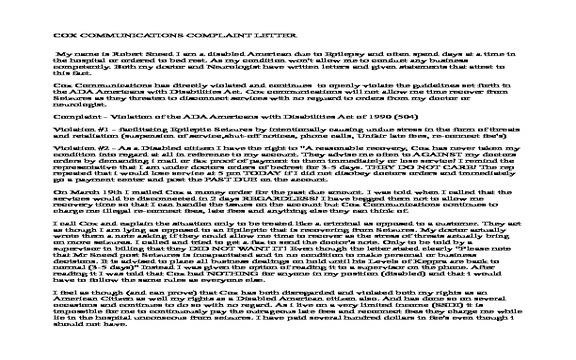 Cox Communications - Violation of ADA Americans w/ Disablilities
