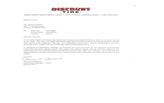 Damage claims rejected by Discount Tire.