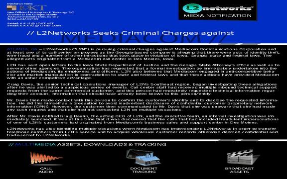 Criminal charges against Mediacom?