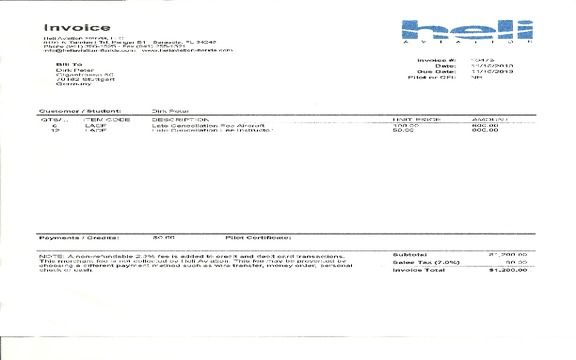 Heli Aviation Florida - Credit Card Fraud and cash money theft