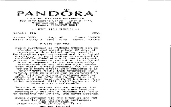 Pandora Jewelry - Did not explain refund policy clearly to 16 year old