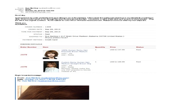 Shirley Wigs - Shirleywigs.com has lied to me.