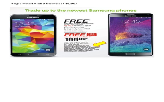 Target - False print advertising of $699 Samsung Galaxy Note 4 no contract phone