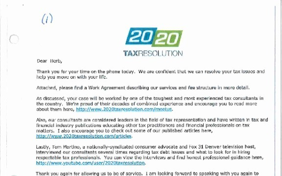 20 20 Tax Resolution - One of the Biggest Scam Companies in the USA today