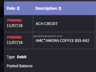 Amora Coffee - Took 70$ from my account