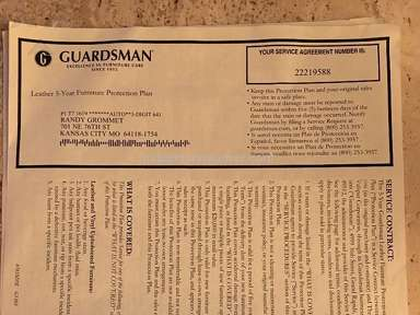 Guardsman Leather Furniture Protection Plan review 231446