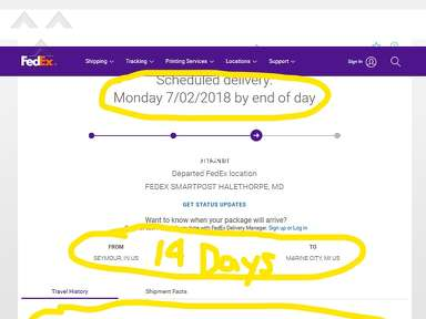 Fedex - 14 days to delivery package from Indiana to Michigan. I could have rode my bike to pick it up by now!