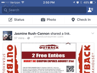 Outback Steakhouse - 2 Free Entrees Deal Review from Kissimmee, Florida