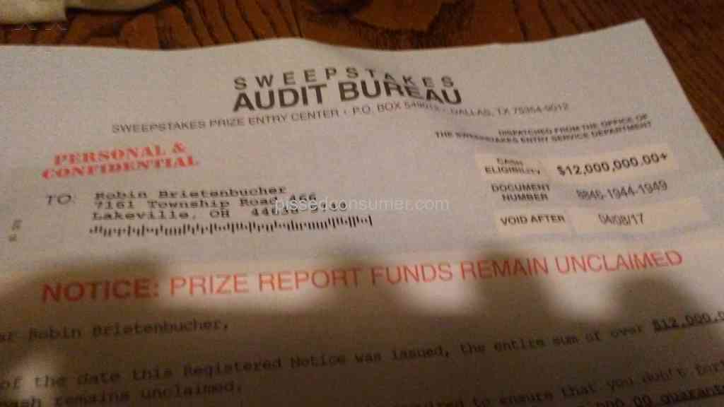 sweepstakes audit bureau dallas tx the sweepstakes audit bureau review apr 29 2019 pissed 8436