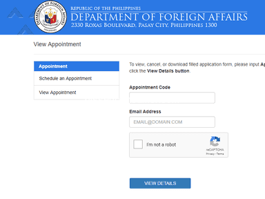 Dfa Passport Appointment System - I don't have my confirmation code