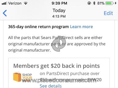 Sears Parts Direct Shop Your Way Rewards Program review 276826