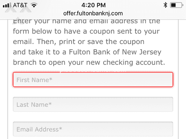 Fulton Bank - Bogus checking account bonus offer