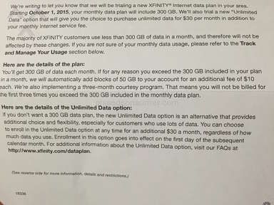 "Xfinity - ""New Trial 300GB DATA option"""