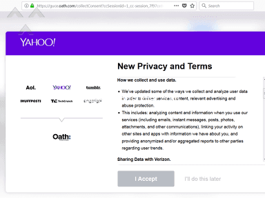Yahoo is trying to force users to sign a new privacy statement. However, the Do It Later button does not work!d