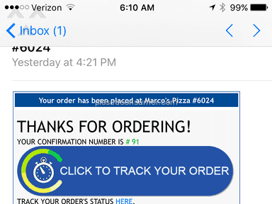 Marcos Pizza - Wrong order