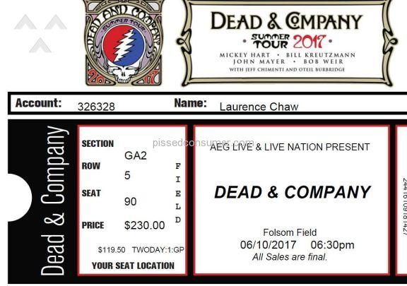 Front Row Tickets Dead And Company Concert Ticket