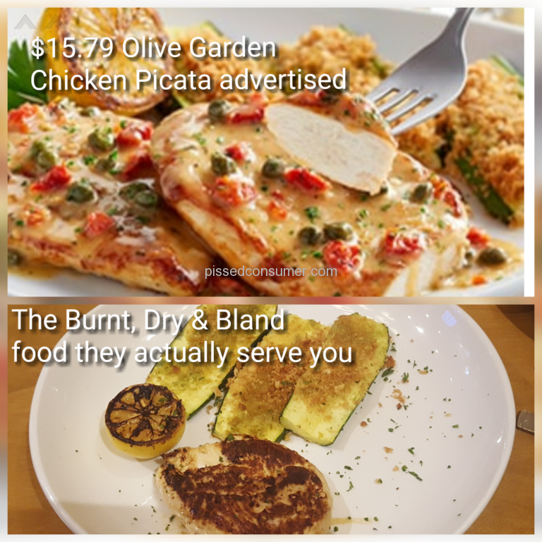 1 Olive Garden Piccata Chicken Review Or Complaint Pissed Consumer
