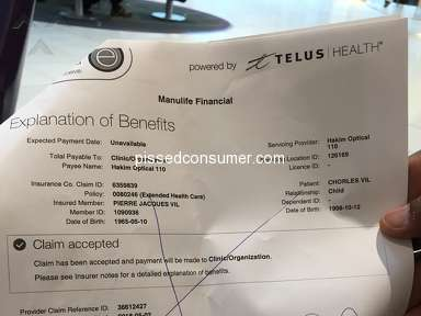 Hakim Optical - Mistreatment client with manulife insurance coverage