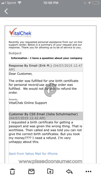 vitalchek birth certificate fraud paper worthless paid received