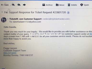 ticketsW - Wrong Person and Lost $550.00