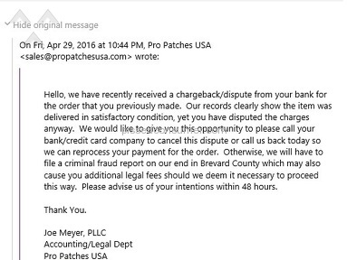 Propatches Usa - PROPATCHES THREATENING EMAIL