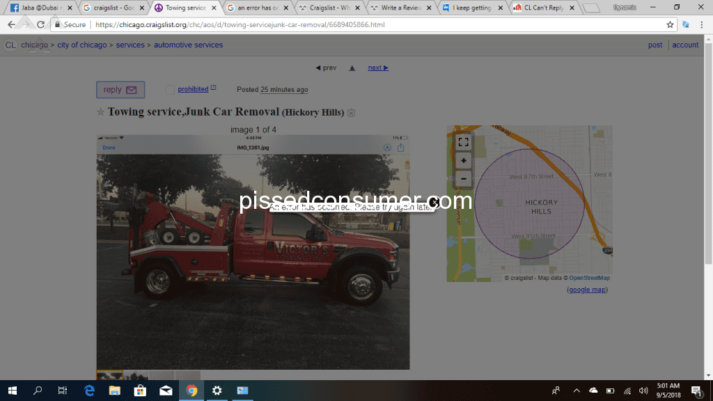 Craigslist An Error Has Occurred Please Try Again Later Feb 25 2021 Pissed Consumer
