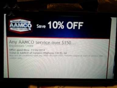 This  AAmco will not honor their own advertising coupon