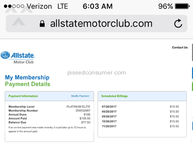 Allstate Motor Club - Auto pay and NO Service