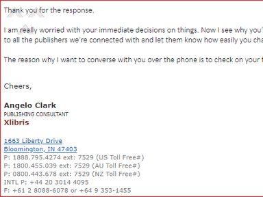 Xlibris - Sending me threatening and harassing emails just because I am not pursuing their company for publishing services!