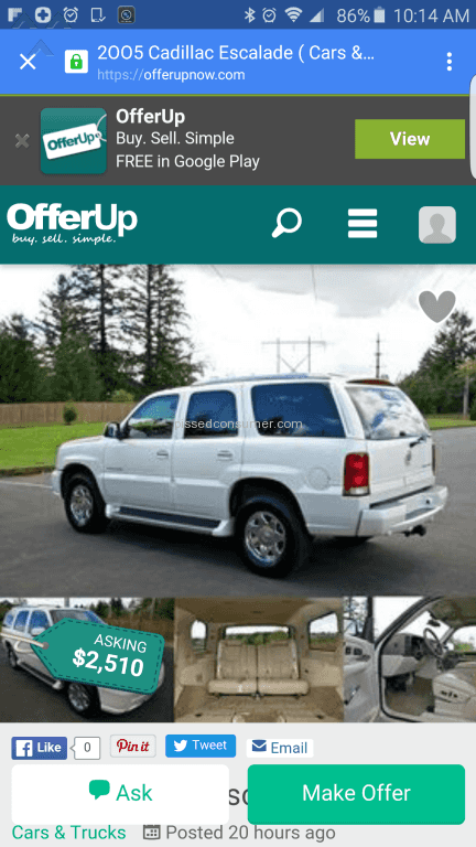 Offerup Auto Advertisement Review from Los Angeles, California Jan