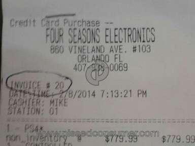 Four Seasons Electronics - PERDA MONETÁRIA $ 299,99