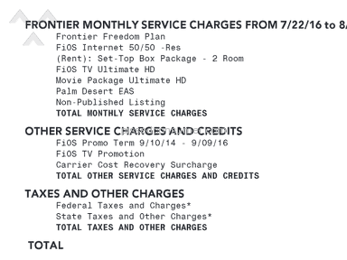 Frontier Communications - Bait and switch/Overbilling