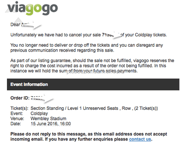 Viagogo Lost my Tickets and STILL Charging me $20 fine
