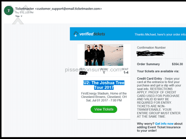 Ticketmaster - Don't purchase Credit Card Entry tickets for any event