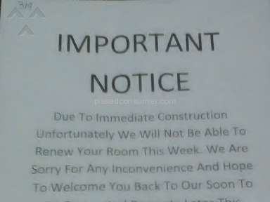Intown Suites- No Notice Move Out Notice