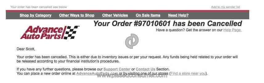 Advance Auto Parts Order Cancellation Sep 15 2019